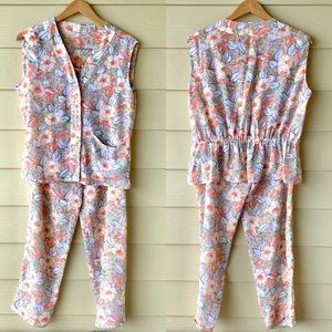 VTG Victoria's Secret Floral 2-Piece Pajama Set S